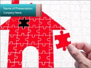 Puzzle With Red House PowerPoint Template