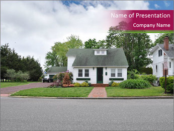 House with a lawn PowerPoint Template