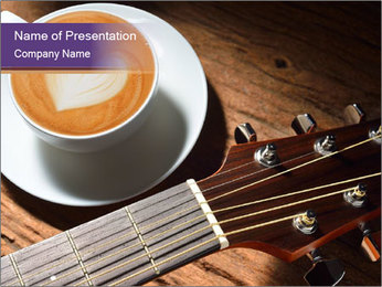 Coffee and fingerboard of the guitar. PowerPoint Template - Slide 1