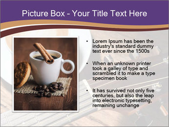 Coffee and fingerboard of the guitar. PowerPoint Template - Slide 13