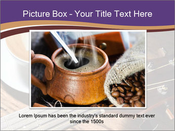 Coffee and fingerboard of the guitar. PowerPoint Template - Slide 15