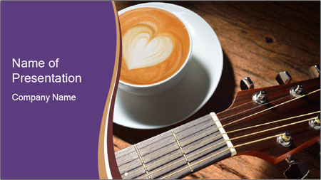 Coffee and fingerboard of the guitar. PowerPoint Template