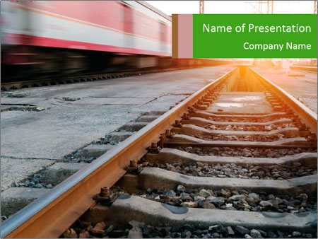 Railway and fast moving train. PowerPoint Template