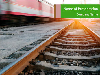 Railway and fast moving train. PowerPoint Template - Slide 1