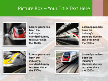 Railway and fast moving train. PowerPoint Template - Slide 14