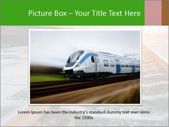 Railway and fast moving train. PowerPoint Template - Slide 15
