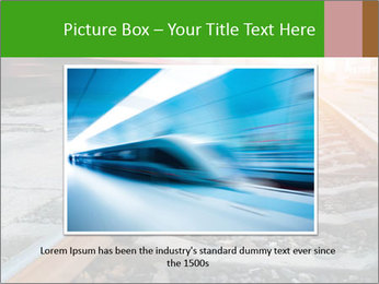 Railway and fast moving train. PowerPoint Template - Slide 16