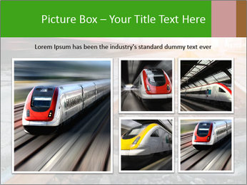 Railway and fast moving train. PowerPoint Template - Slide 19