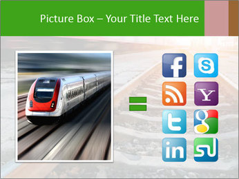 Railway and fast moving train. PowerPoint Template - Slide 21
