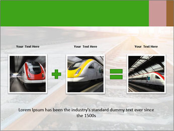 Railway and fast moving train. PowerPoint Template - Slide 22