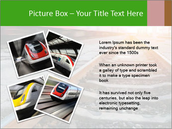 Railway and fast moving train. PowerPoint Template - Slide 23