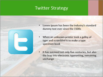Railway and fast moving train. PowerPoint Template - Slide 9