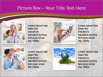 Girl smiling while sitting at a desk at the the computer. PowerPoint Template - Slide 14