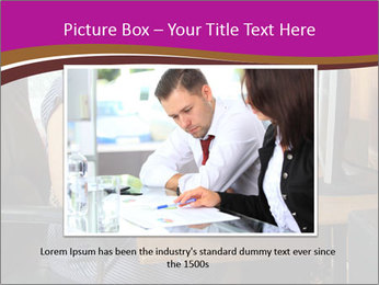 Girl smiling while sitting at a desk at the the computer. PowerPoint Template - Slide 15
