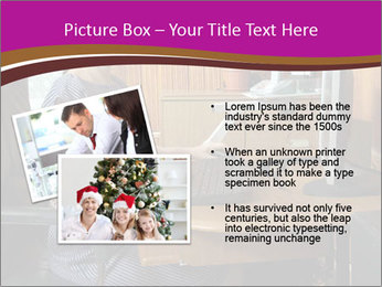 Girl smiling while sitting at a desk at the the computer. PowerPoint Template - Slide 20