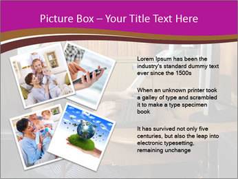 Girl smiling while sitting at a desk at the the computer. PowerPoint Template - Slide 23