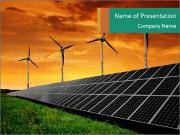 Ecological energy. Solar panels at dusk. PowerPoint Template