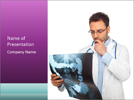 Doctor Examines X-Ray PowerPoint Template