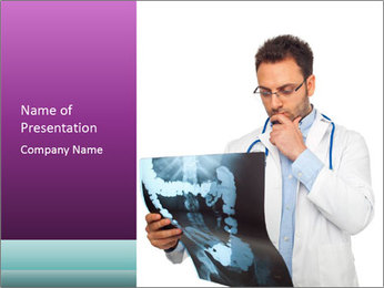 Doctor Examines X-Ray PowerPoint Template - Slide 1