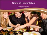 Friends dinner in the restaurant. PowerPoint Template