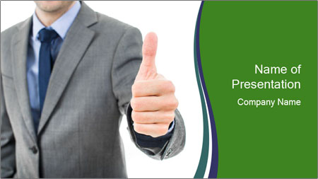 Businessman Shows Approval Gesture PowerPoint Template - Slide 1