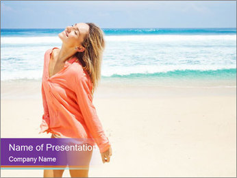 Beautiful Lady On Beach PowerPoint Template - Slide 1