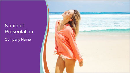 Beautiful Lady On Beach PowerPoint Template