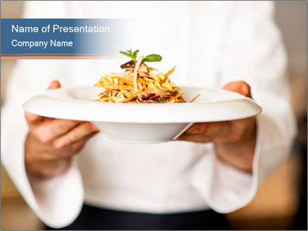 chef holding dish powerpoint template & backgrounds id 0000089833, Modern powerpoint