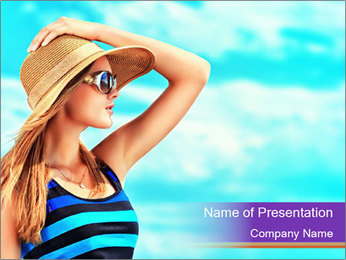 Woma Wearing Beach Hat PowerPoint Template - Slide 1