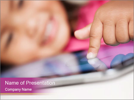 Girl playing with the tablet PowerPoint Template