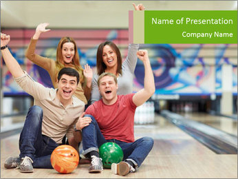 People in bowling PowerPoint Template - Slide 1