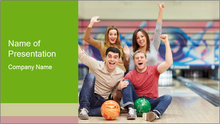 People in bowling PowerPoint Template