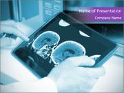 Doctor examining a brain PowerPoint Template
