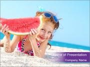 Happy child on the sea PowerPoint Template