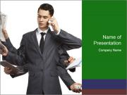 Businessman with six hands PowerPoint Template