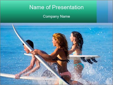 Boys and girls teen surfers running PowerPoint Template