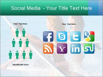 Boys and girls teen surfers running PowerPoint Template - Slide 5