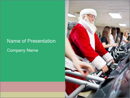 Santa Claus in the gym PowerPoint Template