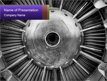 Closeup of a jet engine of an aircraft PowerPoint Template - Slide 1