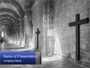 Christian Cross And Sunlight PowerPoint Template
