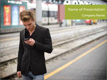 Man Checking Cellphone PowerPoint Template - Slide 1