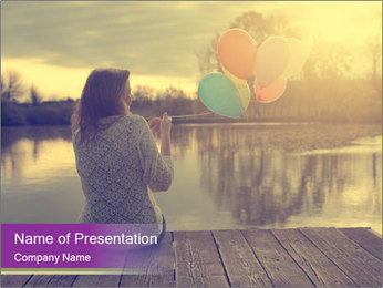 Young Woman And Balloons PowerPoint Template - Slide 1