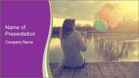 Young Woman And Balloons PowerPoint Template