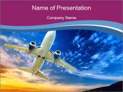 Plane In Blue Sky PowerPoint Template