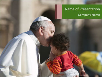Pope Kissing Child PowerPoint Template - Slide 1