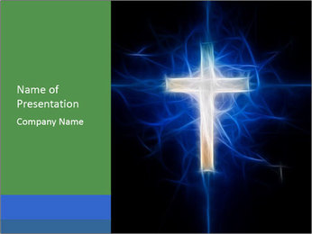 Blue Christian Cross PowerPoint Template