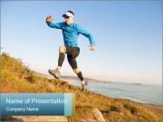 Man Climbing Hill PowerPoint Template