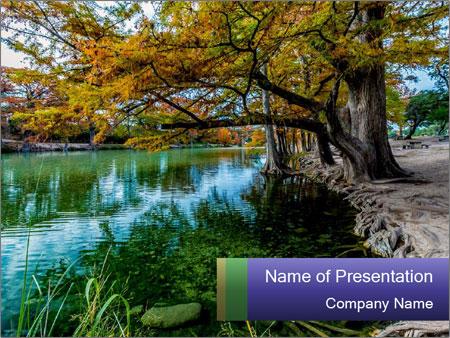 Lake During Autumn Season PowerPoint Template