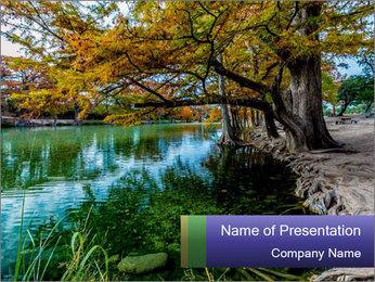 Lake During Autumn Season PowerPoint Template - Slide 1