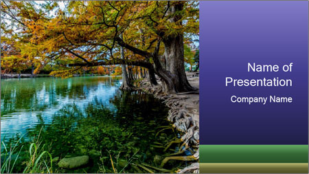 Lake During Autumn Season PowerPoint Template